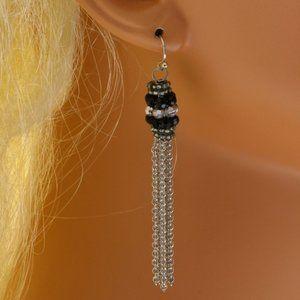 Lane Bryant silver and crystal tassel earrings